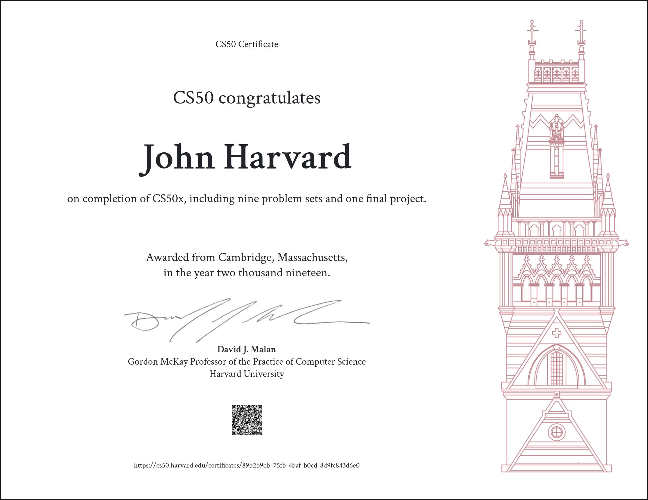 CS50 Certificate